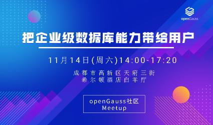 【成都】openGauss Meetup : 把企业级数据库能力带给客户