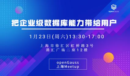 【上海】openGauss Meetup : 把企业级数据库能力带给客户