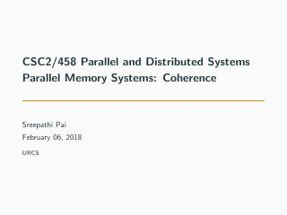 06-Parallel Memory Systems: Coherence
