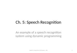 05_Speech Recognition