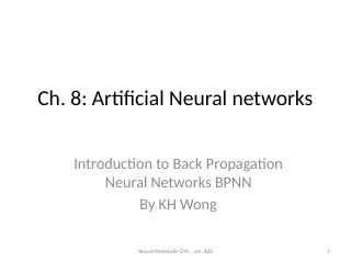 08_Artificial Neural networks