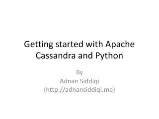 19/06 - Getting started with Apache Cassandra...