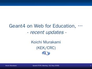 Geant4 on Web for Education