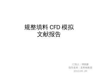 规整填料CFD模拟 文献报告 汇报人:谭丽...