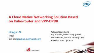 基于 Kube-router 和 VPP-...