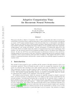 Adaptive Computation Time for Recurrent Neura...