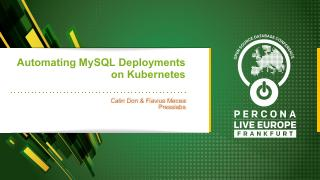 Automating MySQL Deployments on Kubernetes
