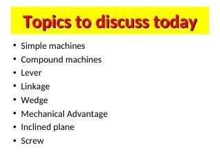 BASIC MACHINES = intro-Lever-screw -wedge-MA