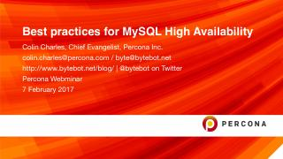 Best practices for MySQL High Availability Fe...