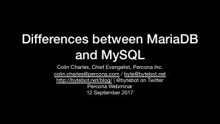 Differences between MariaDB Server and MySQL