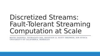 Fault-Tolerant Streaming Computation at Scale