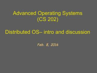 分布式操作系统的介绍与讨论