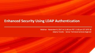 Enhanced Security Using LDAP Authentication