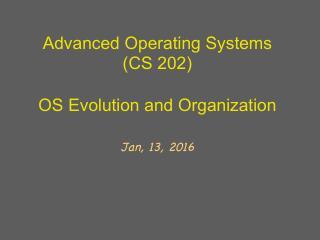 操作系统的演变及模型