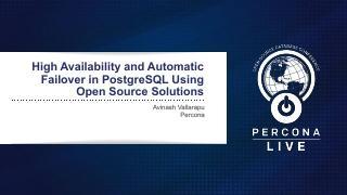 使用开源解决方案处理PostgreSQL中...