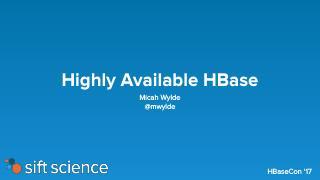 HBase 高可用HA