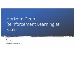 Horizon: Deep Reinforcement Learning at Scale
