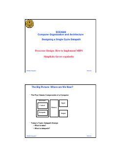 处理器设计:如何实现MIPS 的简单规律性