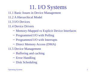 11-I/O Systems