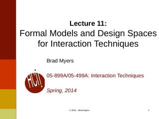 Formal Models and Design Spaces for Interacti...