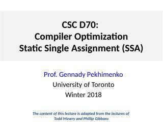 Lecture 4 [SSA]
