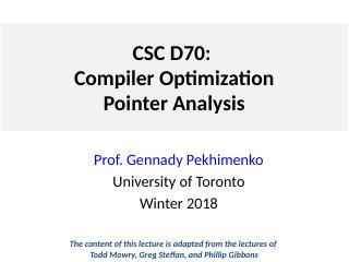 Lecture 7 指针分析