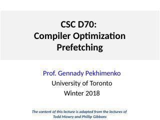 Lecture 9 预取
