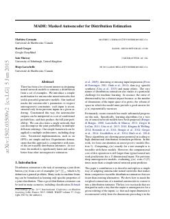MADE: Masked Autoencoder for Distribution Est...