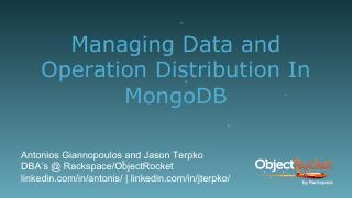 管理MongoDB中的数据和运行分配