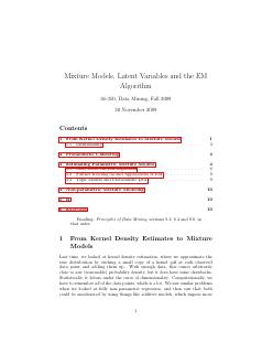 Mixture Models, Latent Variables and the EM A...