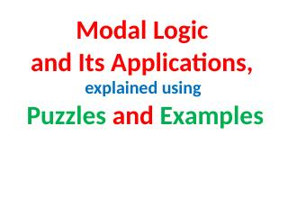 023-Modal Logic and Its Applications