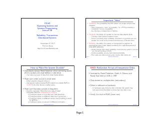 系统可靠性,事务和分布式系统
