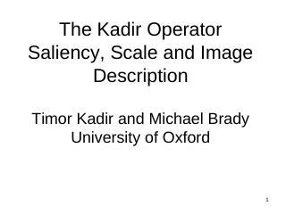 Kadir算子的显著性、尺度和图像描述