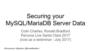 Securing your MySQL MariaDB data