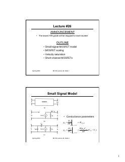 短沟道MOSFET I-V小信号模型