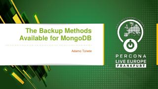 The Backup Methods Available for MongoDB