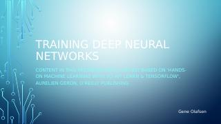 Training Deep Neural Networks
