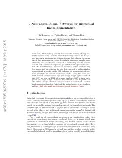 U-Net: Convolutional Networks for BiomedicalI...