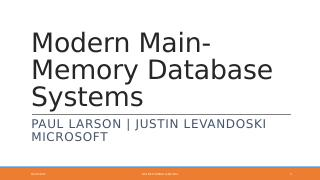 Modern Main-Memory Database Systems