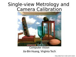 单视图计量和摄像机校准