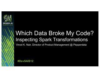 哪些数据破坏了我的代码?检查Spark 的转变