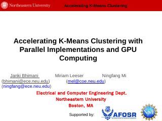 Accelerating K-Means Clustering Parallel Impl...