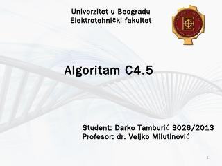 Algoritam C4.5 (Darko Tamburic)