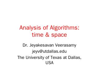 Algorithm Analysis & Time Complexity - UT Dallas