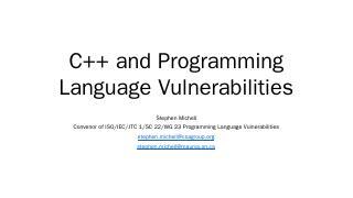C++ and Programming Language Vulnerabilities ...
