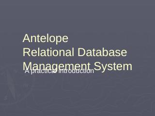 Antelope Relational Database System