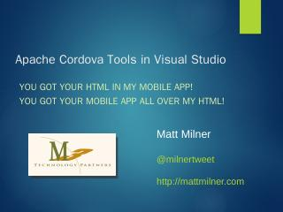 Apache Cordova Tools in Visual Studio - NET C...