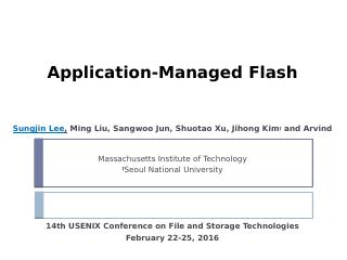Application Managed Flash