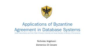 Applications of Byzantine Agreement in Databa...