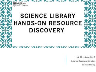 Aug 2017 - NUS Libraries
